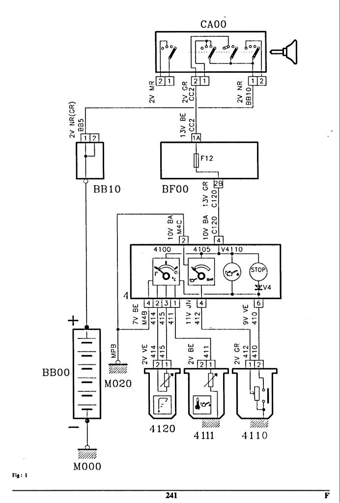 problème sonde niveau d'huile  Schema_405_phaseII_voyants_huile_0001