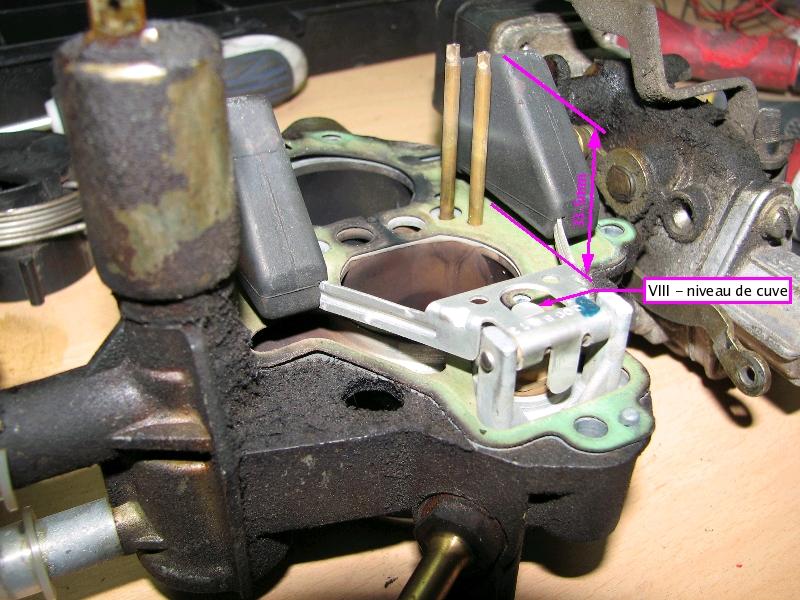 [TUTO] Fonctionnement et réglage carburateur solex 34-34 Z 1 T_reglage_VIII_hauteur_des_flotteurs